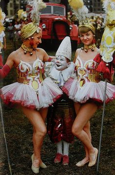 1950s Circus Performers - Women In Costume with Small Midget Clown.