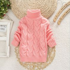 Diy Crafts - Solid Color Girls Turtleneck Sweater Kids Knitwear For Pullover Outfit, Baby Pullover, Boys Sweaters, Warm Sweaters, Knitting For Kids, Baby Knitting, Sweater Outfits, Boy Outfits, Kids Clothes Boys