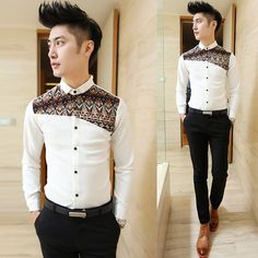 Find More Casual Shirts Information about 2014 Unique Splicing Design Fashion Shirts Slim Asian Mens Wear Dress Shirts,High Quality Casual Shirts from HOTI STYLE on Aliexpress.com