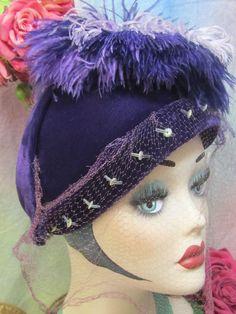 ANTIQUE vintage 1930-40 PURPLE velvet HAT millinery OSTRICH plumes VEIL Paris #Capulet