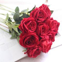 Set de 5 trandafiri artificiali din flanel, decoratiuni pentru casa, nunta, vacanta