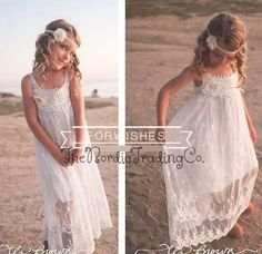 Just what you are looking for for your Rustic, Beach, Bohemian or Vintage Wedding theme. This dress makes a priceless portrait for your little girl. Sweet and innocent yet elegant. No need to pay hund
