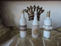 Decorated Wrapped and Painted Wine Bottles, Customize Your Wine Bottles, Upcylced Wine Bottles