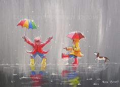 PETE RUMNEY FINE ART ORIGINAL ACRYLIC OIL PAINTING COLOURS RAIN UMBRELLA FUN in Art, Direct from the Artist, Paintings | eBay
