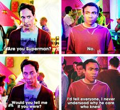 If you've ever seen Dan Harmon's highly acclaimed show Community, you'll know that it's one of the best things on TV. So, let's look back at these fifteen times when Community was one of the best shows on TV. Community Tv Show, Community Quotes, Community College, Saga, Donald Glover, Childish Gambino, Funny Internet Memes, Parks N Rec, Best Shows Ever