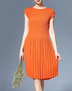 Chic Orange Plain Casual Midi Dress - AdoreWe.com