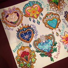 Art by Melvin_arizmendi Finally finished :) ✨ June: Pearl & White Rose March: Aquamarine & Daffodil☀️ September: Sapphire & Morning Glory August: Peridot & Red Poppy December: Blue Topaz & Holly Girly Tattoos, Flower Tattoos, Body Art Tattoos, Tatoos, Tattoo Sketches, Tattoo Drawings, Tatoo Heart, Heart Tattoos, Gem Tattoo