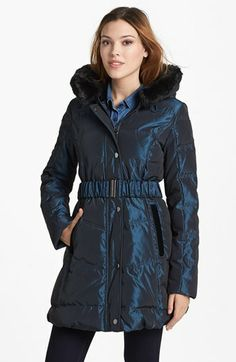 Laundry by Shelli Segal Faux Fur Trim Belted Down & Feather Coat on sale $134.99