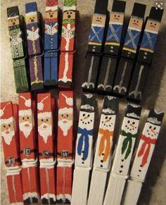 Christmas Crafts : Set of 16 hand painted Christmas Clothespins Santas Snowmen Carolers Nutcrackers Noel Christmas, All Things Christmas, Winter Christmas, Christmas Ornaments, Diy Ornaments, Christmas Projects, Holiday Crafts, Holiday Fun, Holiday Ideas