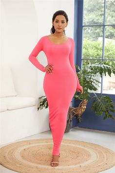 Sexy Long Sleeve Pink Jersey Maxi Woman Clothing Spring Fall Casual Dress 44dc65922273