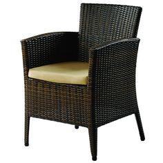 black synthetic rattan arm seat