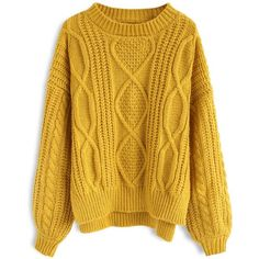Chicwish Cozy Everyday Cable Knit Sweater in Mustard (175 PLN) ❤ liked on Polyvore featuring tops, sweaters, cardigans, yellow, mustard yellow sweater, mustard sweater, mustard top, mustard yellow cable knit sweater and mustard yellow top