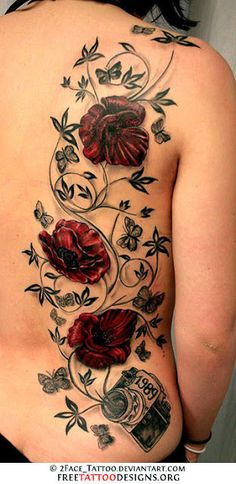 I wouldn't care to have a tattoo with poppies but this is beautiful!