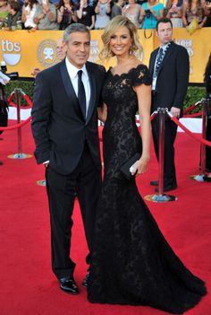 Stacy Keibler in Marchesa. Ohh and George Clooney. #SAGawards