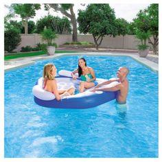 Ocean Blue Foam Pool Beach Float Lounger TRC Sponge Cushion Raft 2 Pack