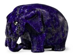 A Carved Lapis Lazuli Model of an Elephant  By Fabergé, circa 1900