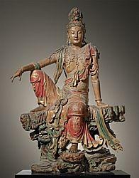 藝術的納爾遜 - 阿特金斯藝術博物館|收藏南海觀音,遼(907-1125)或金代(1115-1234) 中國 木材用漆多層 95 X 65英寸(241.3點¯x165.1厘米)