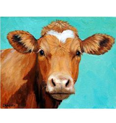 Guernsey Cow Art, Farm Animal Print, Face on Light Teal, Painting by Dottie Dracos, paper or canvas