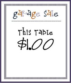 Sweet Sewn Stitches: Thursday Threads: Successful Garage Sale! (free printable)
