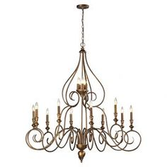 """Cast an elegant glow over your foyer or dining room with this beautifully scrolling steel chandelier, featuring a candelabra-inspired design and mocha finish.  Product: ChandelierConstruction Material: Steel Color: MochaFeatures: Scrolling details Accommodates: (15) 60 Watt candelabra bulbs - not includedDimensions: 50"""" H x 48"""" Diameter"""