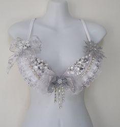 Snow Queen, White Wonderland Rave Bra, Crystal Chain, Rhinestone Clusters, Pearls