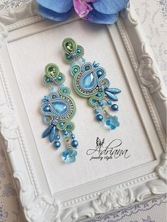 Pastel soutache earrings by AdrianaJewelryStyle