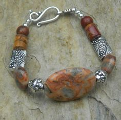 Boho Bracelet Coral Crazy Lace Agate Tribal by BohoEarthDesigns