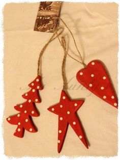 red and white polka dot wooden Christmas decorations