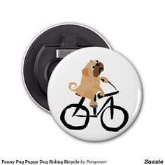 Funny Pug Puppy Dog Riding Bicycle