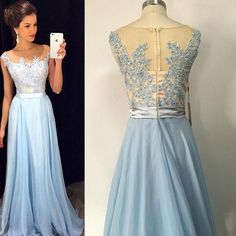 bf6e57e9a06 Long Sexy Blue A-line Sleeveless Zipper Appliques Prom Dresses 2019 Chiffon  For Short Girls. lolipromdress