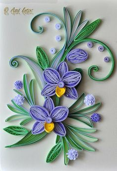 Quilling card Love the flowers Neli Quilling, Origami And Quilling, Quilling Craft, Quilling Patterns, Quilling Designs, Quilled Roses, Paper Quilling Tutorial, Quilled Paper Art, Flower Cards