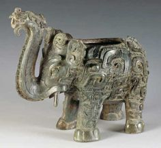Zun (ritual vessel for pouring liquids) in the shape of an elephant, #Shang Dynasty # Hunan Provincial Museum Shang dynasty elephant zun chinese art