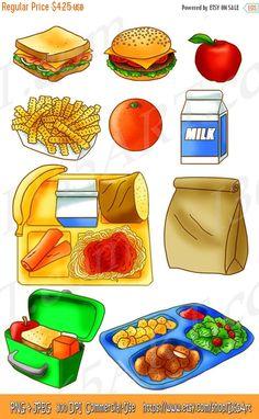 50% OFF Sale School Lunch Clipart Set, Food, Tray, Brown Paper Bag, Sandwich, Apple, Orange, Scrapbooking, Milk, Hand Drawn, Illustrations  by I365Art