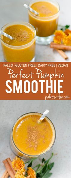 These paleo pumpkin smoothies are creamy, delicious, and not overly sweet! | PaleoScaleo.com
