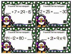 C3 : trouver le terme manquant dans une égalité. La classe de Karine: Cartes à tâches de Noël