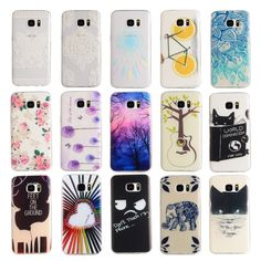 For Samsung Galaxy S7 Case Colorful Painted Lovely Girl Soft Silicon Cartoon Back Cover Shell for Samsung S7 edge + Screen Film