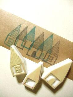 HOUSES - hand carved rubber stamp   Gnome Homes.