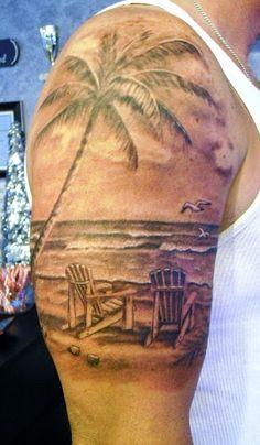 Clássica cena de praia braço de tatuagem http://tatuagens247.blogspot.com/2016/08/verao-quente-tatuagem-ideias.html