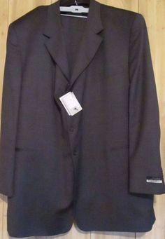 Mens Suit 56 Long 51 Pants  Steve Harvey Charcoal Carrera 100% Wool 4 Button #SteveHarvey #FourButton