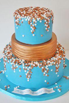 Birthday Cakes NJ - Teal and Bronze Dots Custom Cake