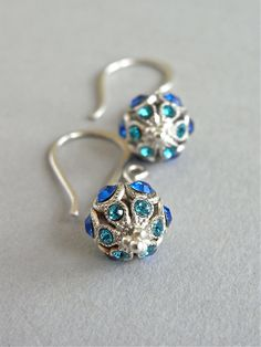 The Deep Water earrings - stunning Swarovski crystal studded beads are completed with luxe all sterling findings - so petite and oh-so-delightful!