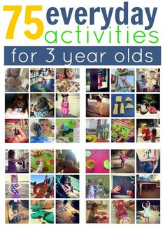 75 Everyday Activities for 3 year olds. Big art projects are fun but everyday activities are simpler. How many of these 75 activities for 3 year olds have you done with your kids? 3 Year Old Activities, Everyday Activities, Craft Activities For Kids, Educational Activities, Preschool Activities, Crafts For Kids, Activity Ideas, Daily Activities, Creative Activities