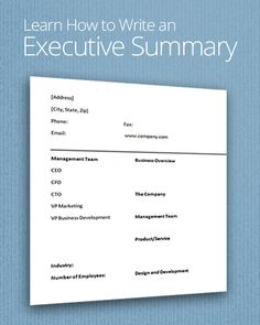 how to write an executive summary for a report