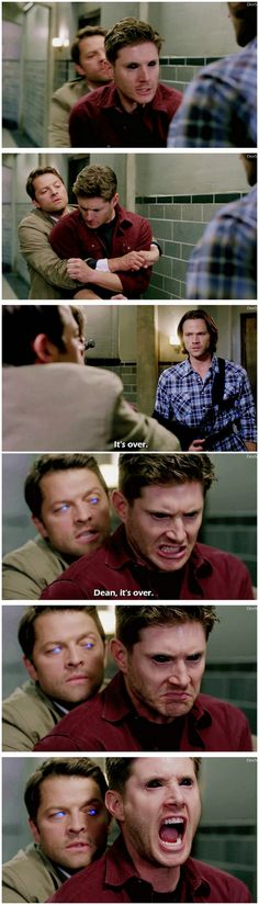 [gifset] 10x03 Soul Survivor. I love the shot of Cas and Dean where both of their eyes are basically showing their souls