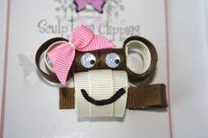 Boutique Monkey Sculpture Ribbon Hair Bows by SculptureClippiesNCo, $4.50