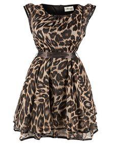 Plus sized Brown Pattern Leopard Print Dress Inspire @ New Look