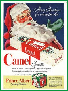 1951 Christmas ad for Camel cigarettes. Bleh. Fat and smokey? Come on Santa. Give the kids something...
