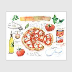 Küchenkunst Pizza Rezept Poster rote Küche Décor von lucileskitchen
