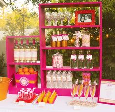 fun setup for a drink station using bookshelves. jello shots, frozen mimosa pops, glittered champagne bottles, etc.