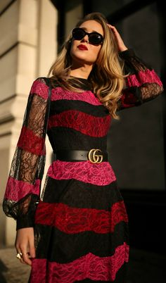 Black, pink, and red striped lace midi dress, black waist belt, black velvet shoulder bag, sheer tights, black double strap Mary Jane pumps, black sunglasses, vintage earrings {Chanel, Gucci, Jimmy Choo, red lips, holiday style, what to wear, festive outfits, classic style, fashion blogger, nyc, winter style, party outfits}